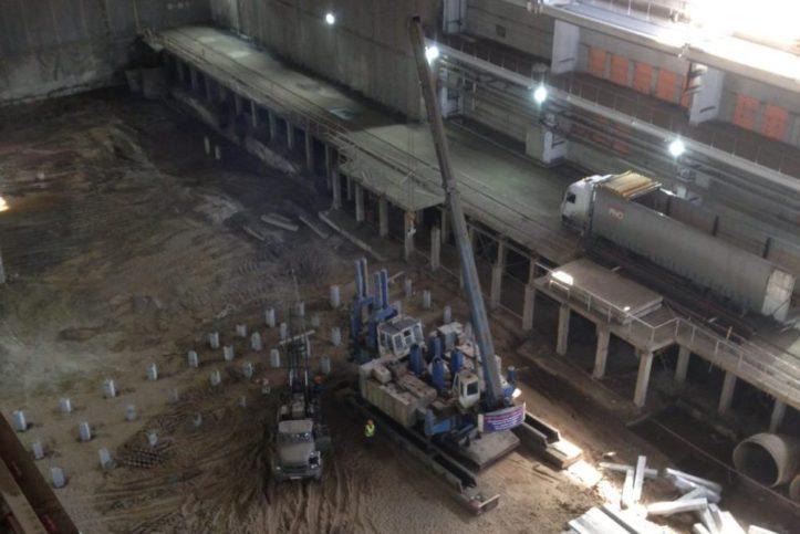 Погружение свай при строительстве Пермской ГРЭС